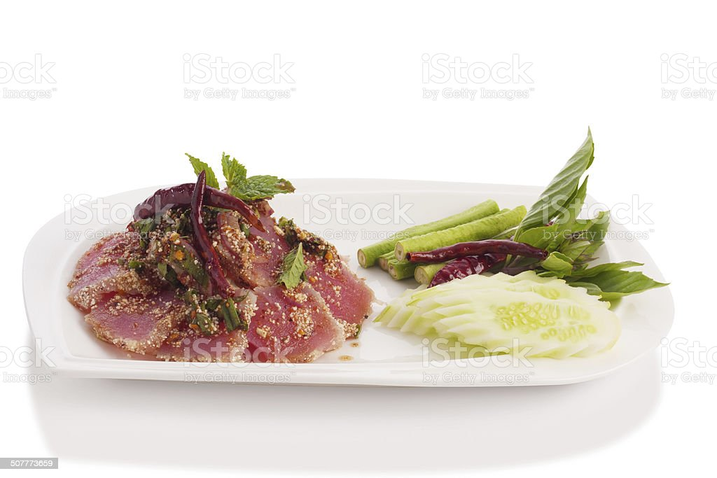 spicy fresh tuna tataki stock photo