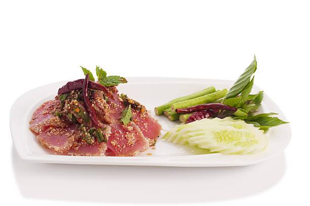 spicy fresh tuna tataki stock photo
