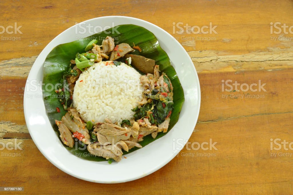 spicy fried duck meat with basil leaf and rice stock photo