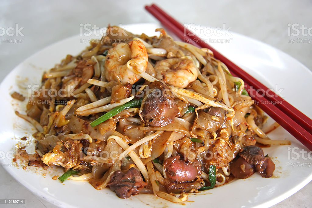 Spicy fried noodles stock photo