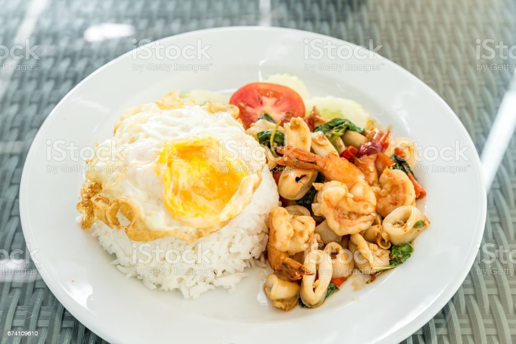 Spicy fried seafood  basil royalty-free stock photo
