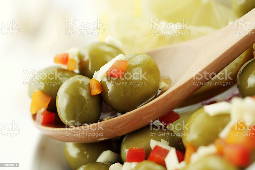 Spicy green olives royalty-free stock photo