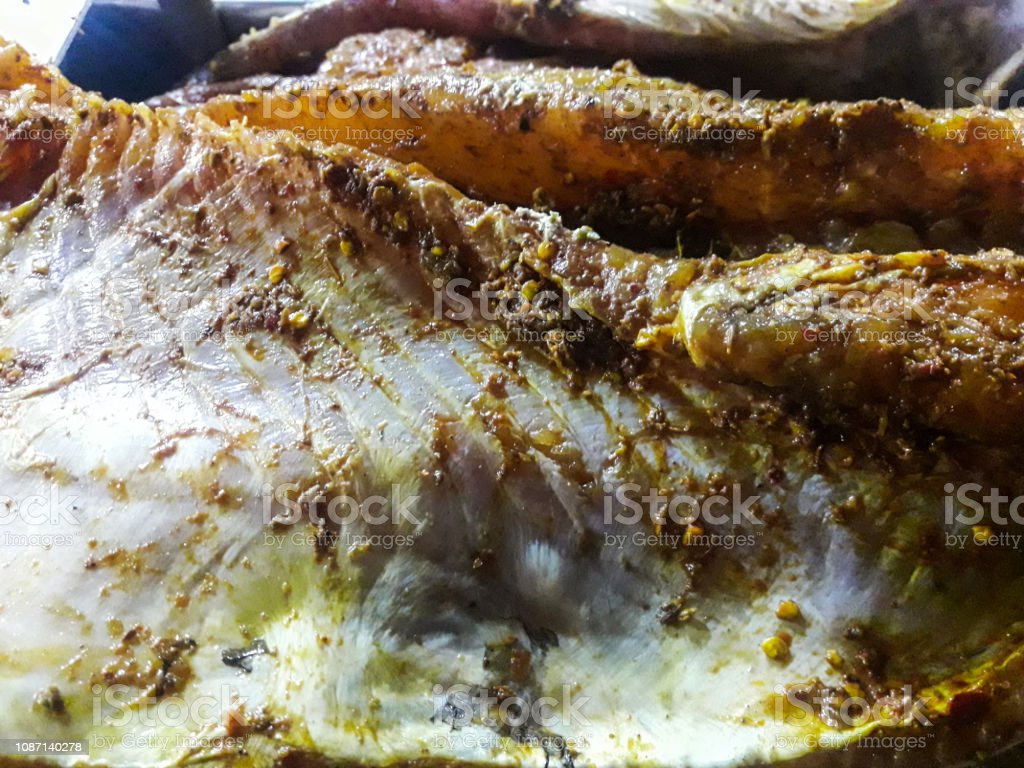 Spicy grilled fish stock photo