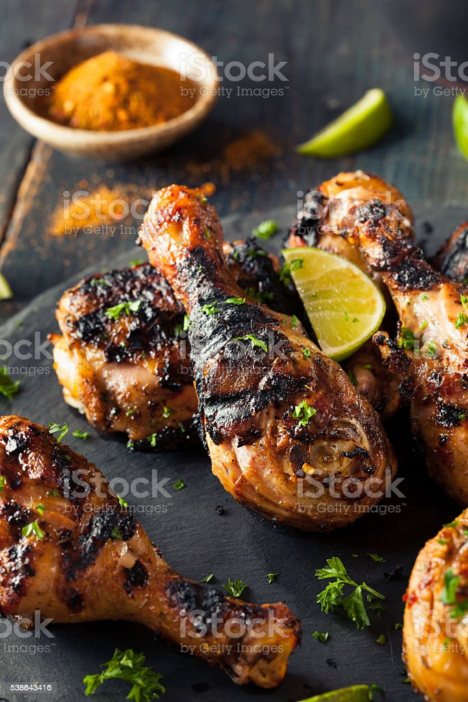 Spicy Grilled Jerk Chicken stock photo