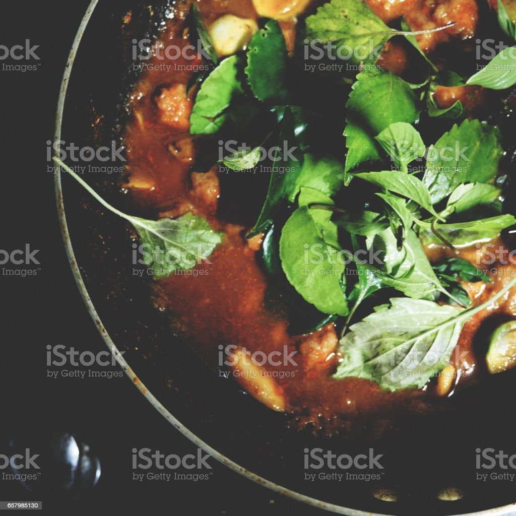 spicy herbal curry stock photo