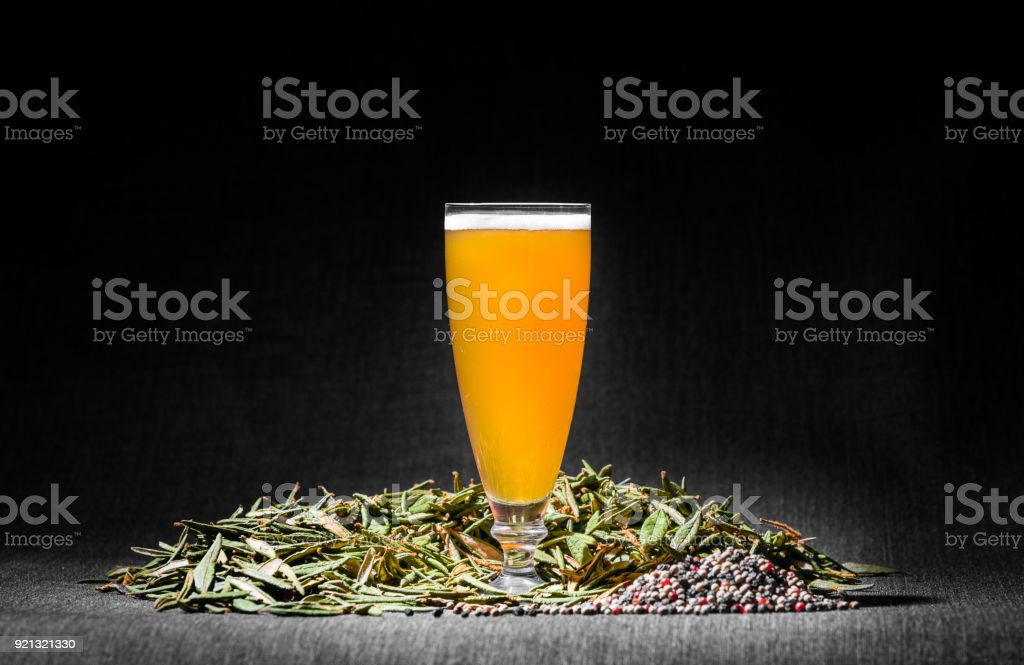 Spicy Home Hazy Brew Beer with Pepper and Labrador tea stock photo