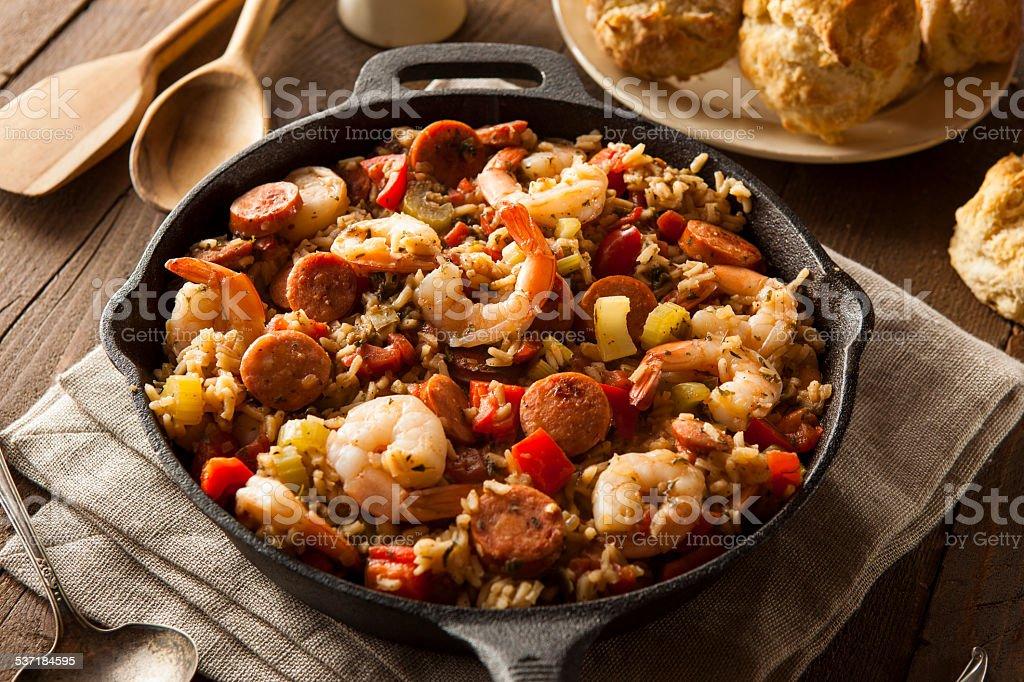 Spicy Homemade Cajun Jambalaya stock photo