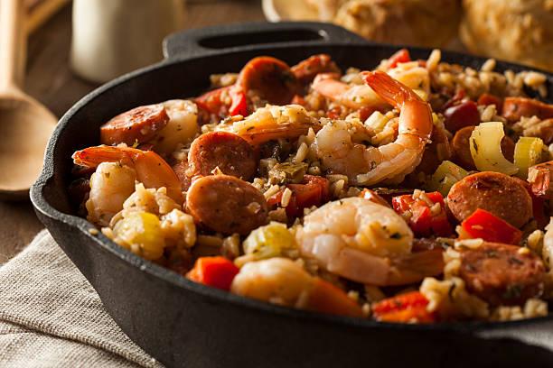 spicy homemade cajun jambalaya - caribbean culture stock pictures, royalty-free photos & images