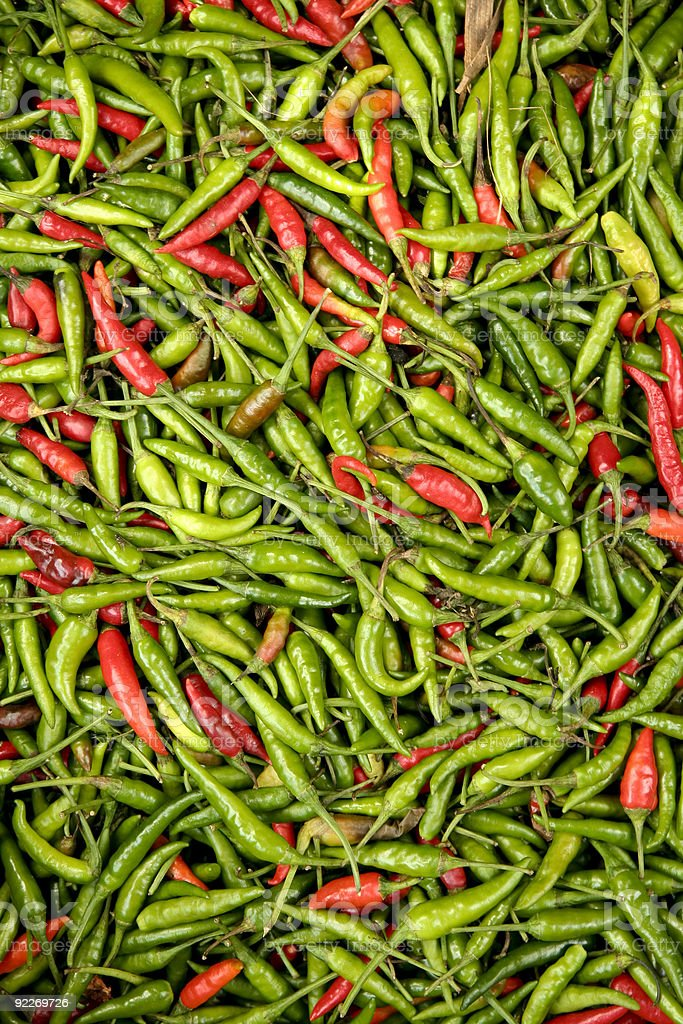 spicy  indonesian red and green chillies royalty-free stock photo