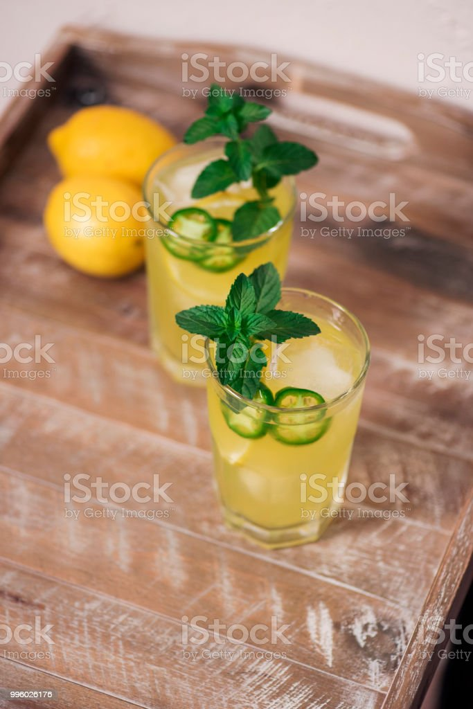 Spicy jalapeno cocktails stock photo
