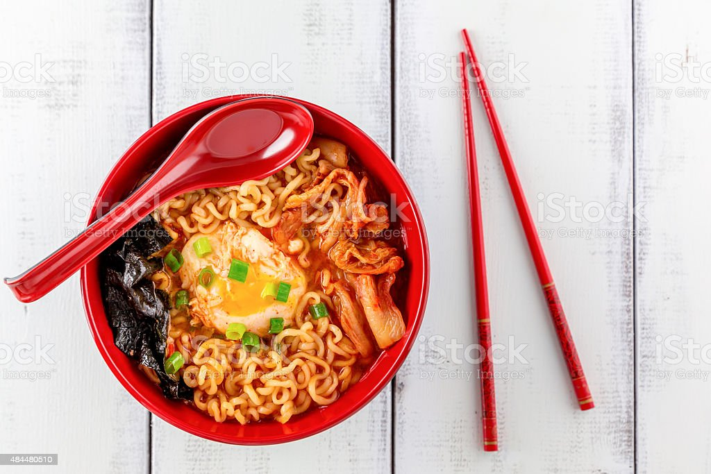 Spicy Korean Ramen with Egg stock photo