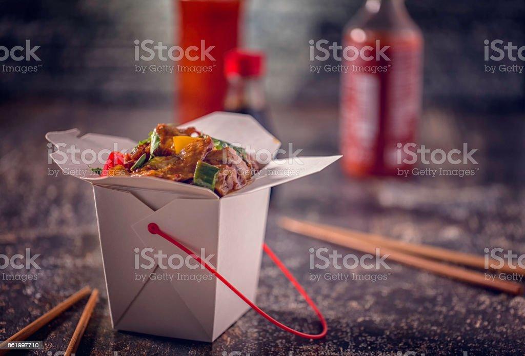 Picante Kung Pao pollo saca la comida - foto de stock