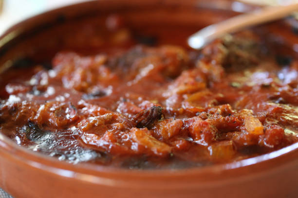 Spicy Lamb, Vegetable and Tomato Stew in a Closeup stock photo
