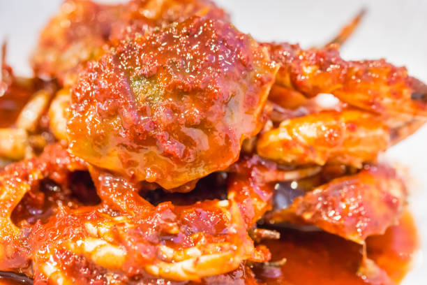 Spicy Marinated Crab Spicy Marinated Crab korean international circuit stock pictures, royalty-free photos & images