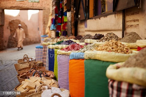 Spice vendor in the streets of Marrakech.