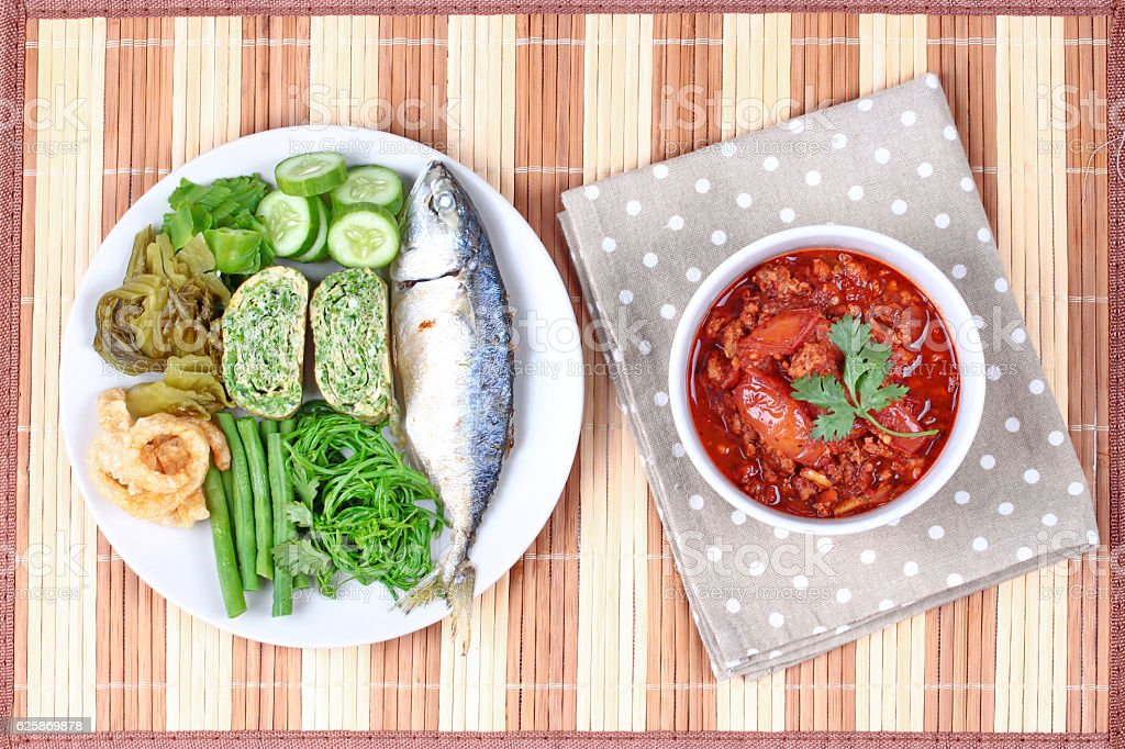 Spicy meat and tomato dip,Nam Prik Ong. stock photo