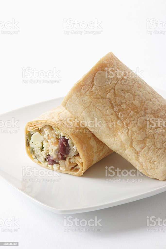Spicy mexican cheese bean wrap royalty-free stock photo