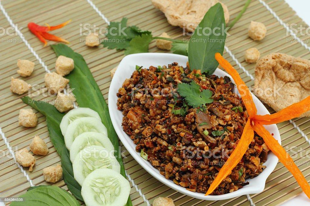 Spicy minced mushroom is vegetarian food. stock photo