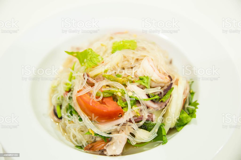 Spicy noodle salad stock photo