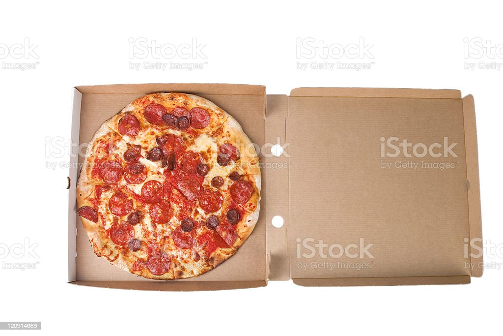 spicy pizza on carboard box stock photo