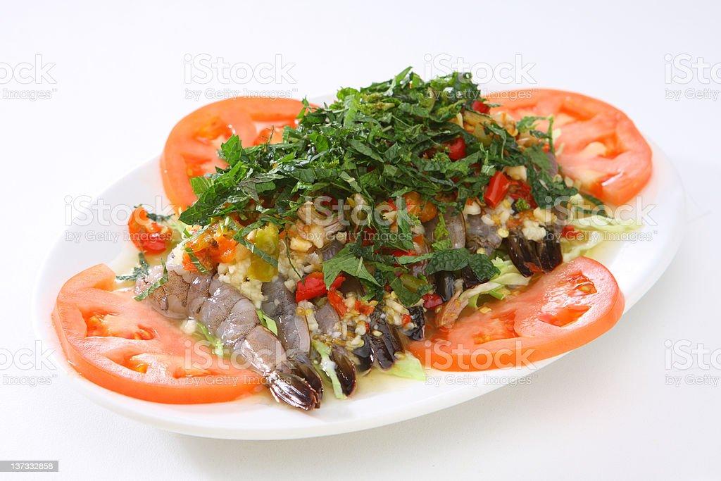 Spicy Raw Shrimp Salad royalty-free stock photo