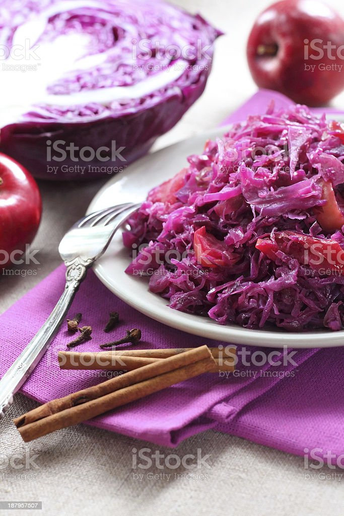 Spicy red cabbage stew stock photo