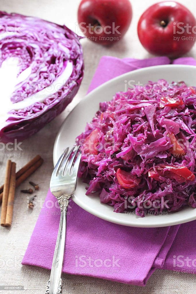 Spicy red cabbage stewed with apples stock photo