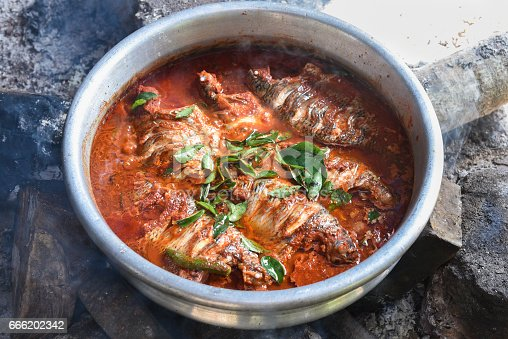 istock Spicy red hot Kerala fish curry 666202342