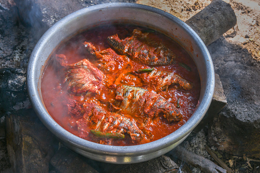 istock Spicy red hot Kerala fish curry 666202544