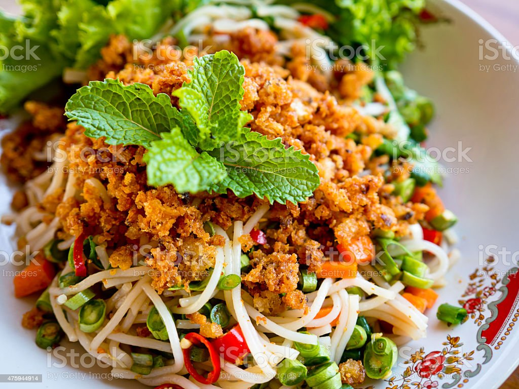 spicy rice vermicelli salad stock photo