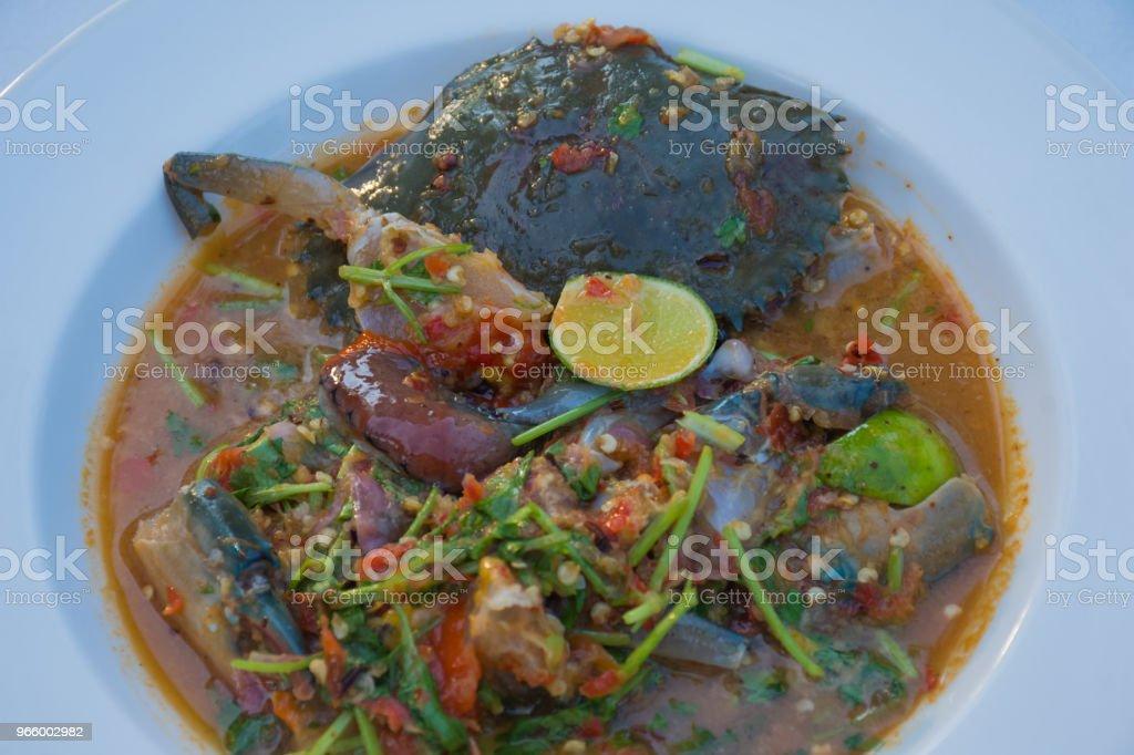 Kryddig Roe krabba sallad - Royaltyfri Blåkrabba Bildbanksbilder