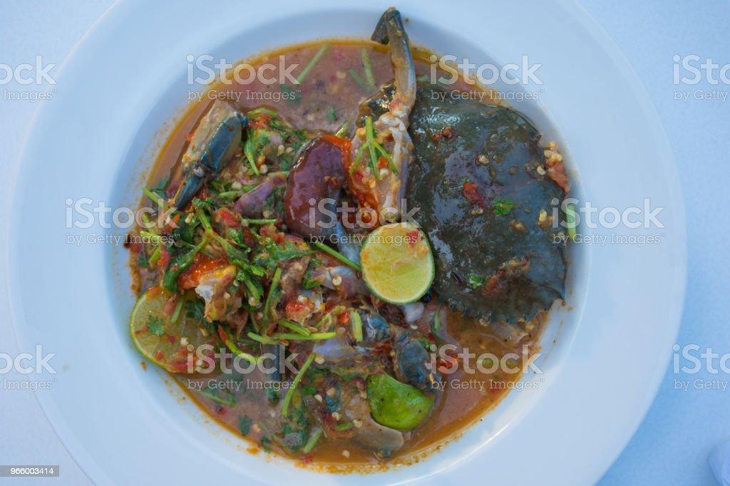 Pittige Roe krab Salade - Royalty-free Blauwe zwemkrab Stockfoto