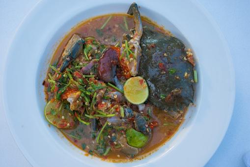Pittige Roe Krab Salade Stockfoto en meer beelden van Blauwe zwemkrab