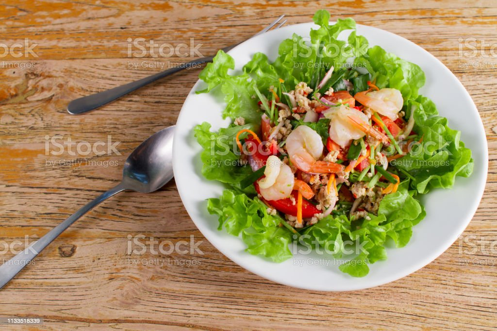 Spicy Salad With Fresh Shrimp Seafood And Pork Chops Thai