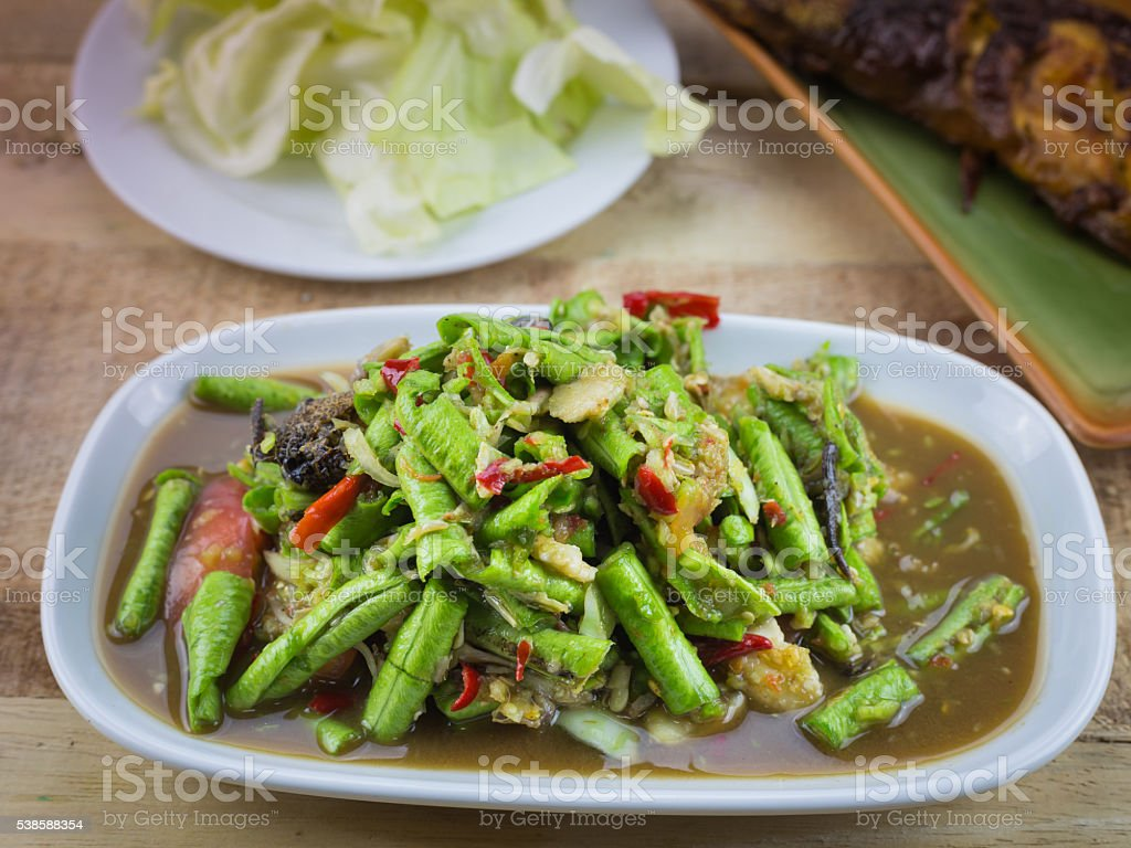 Spicy salad yardlong bean stock photo