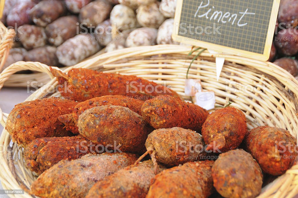 Spicy sausage on French market stall royalty-free stock photo