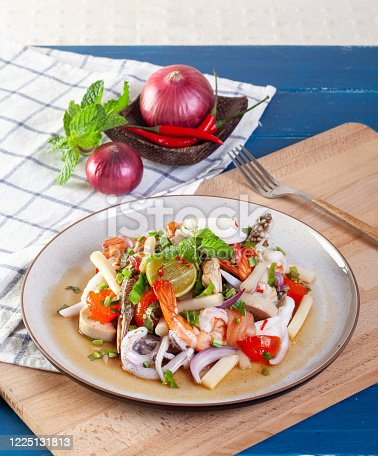 Spicy seafood salad with Thai vegetables