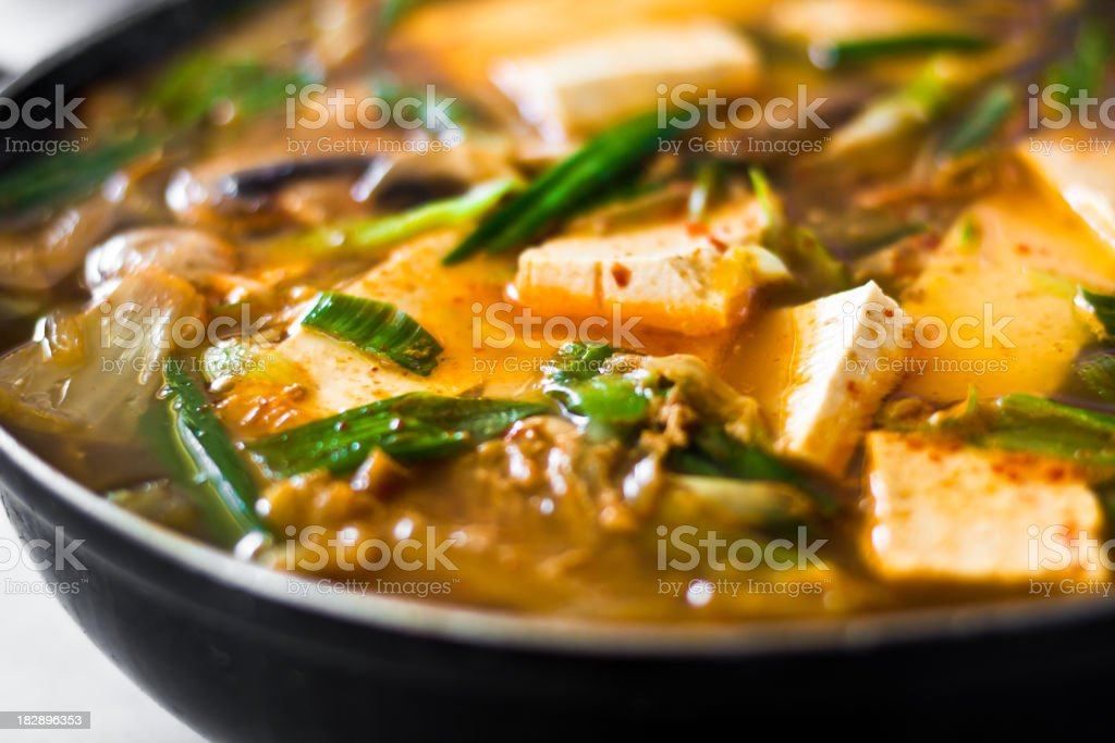 Spicy Seafood Tofu Soup royalty-free stock photo
