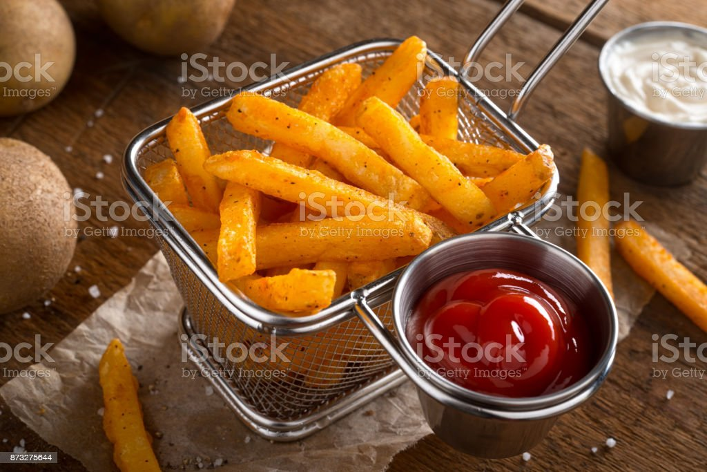 Spicy Seasoned French Fries stock photo