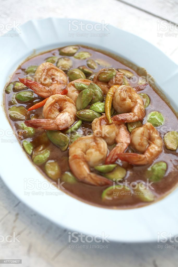 spicy shrimp fried stock photo