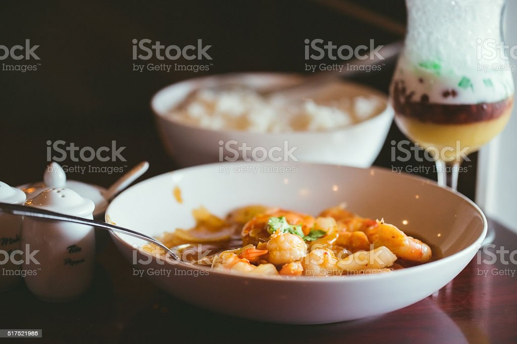 Spicy shrimp stock photo