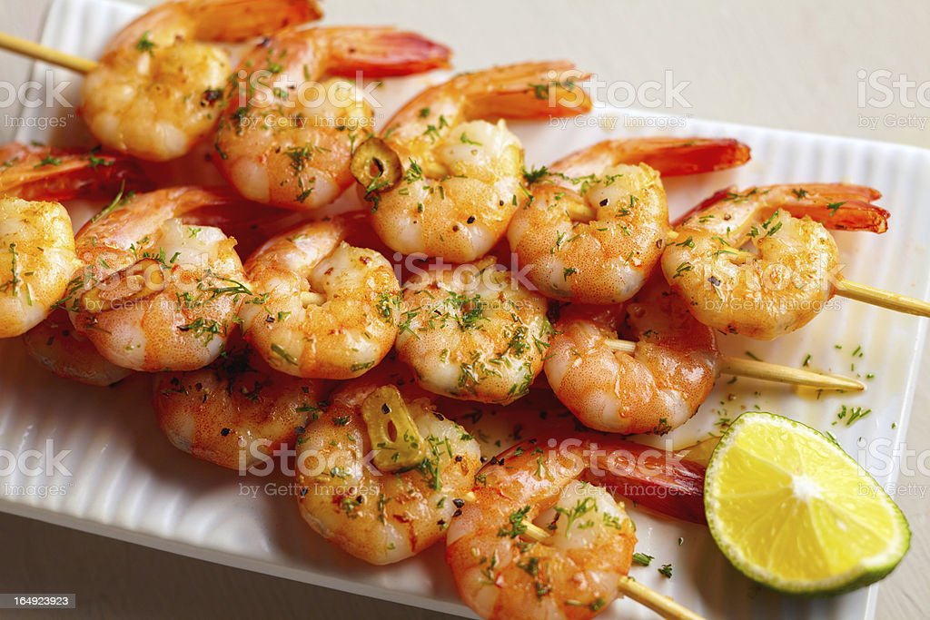 Spicy shrimps stock photo
