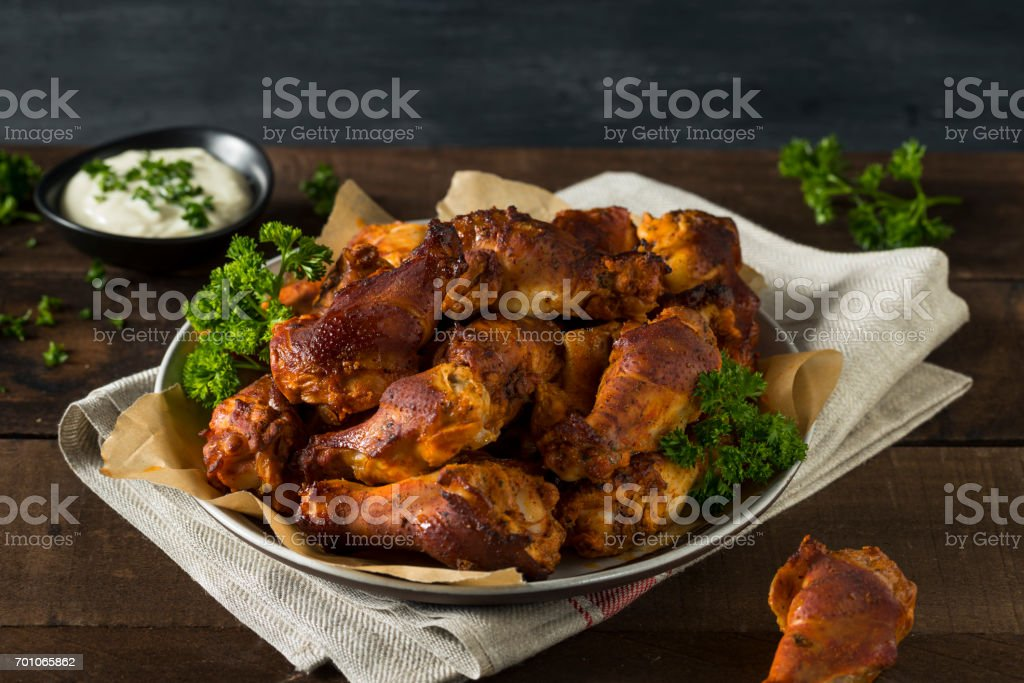 Spicy Smoked Chicken Wings stock photo