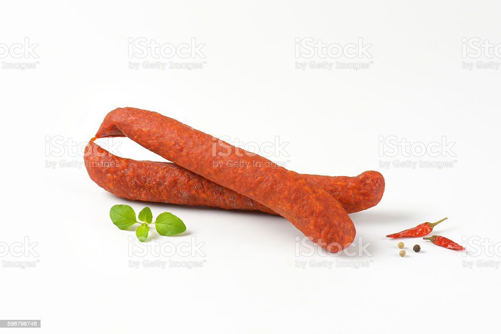 Spicy smoked Hungarian sausages stock photo