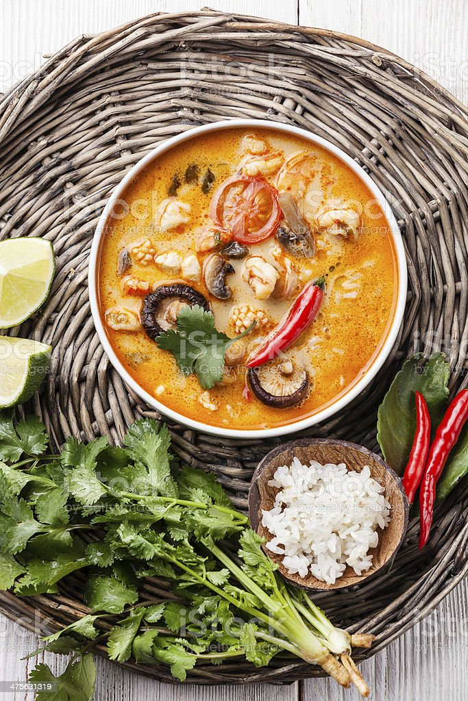 Spicy soup Tom Yam stock photo