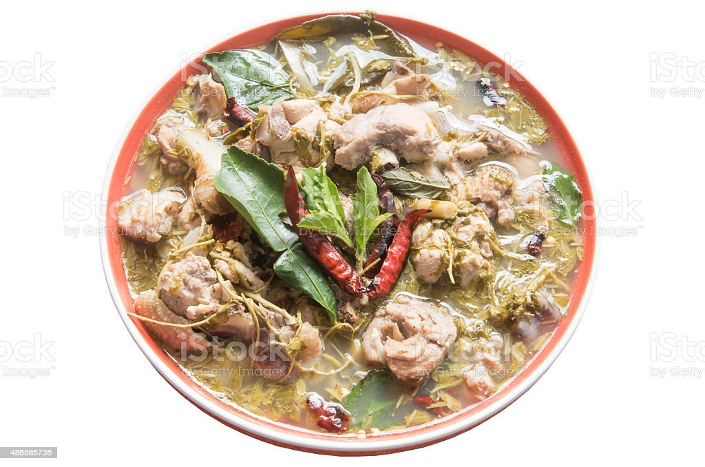 Spicy Sour Soup with Chicken and young tamarind leaf stock photo
