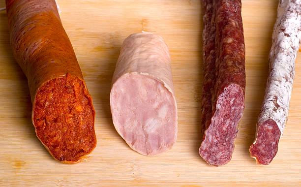 como salchichas español - fuet sausages fotografías e imágenes de stock