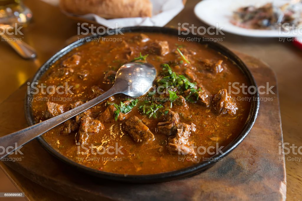 spicy stewed meat stock photo