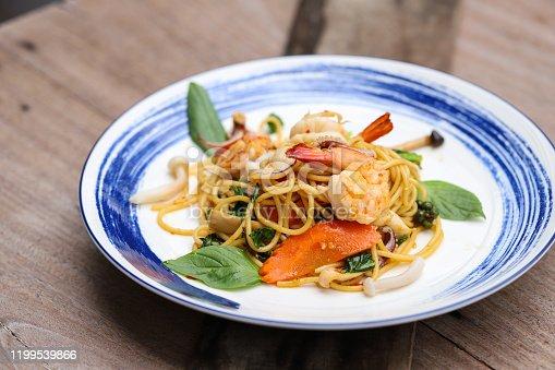 Spicy Stir Fried Spaghetti with Seafood