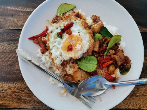 Spicy stir-fried pork with Thai food stock photo